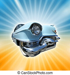 Vintage american car from 1950s on a retro burst background.