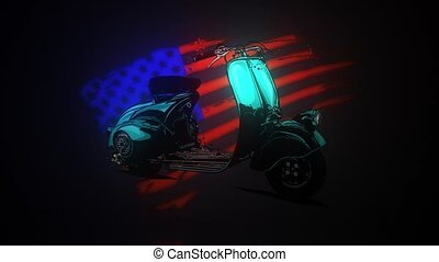 vintage American chopper motorcycle with american flag video
