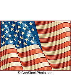 Vintage American Flag (close up) - Vintage American flag in...