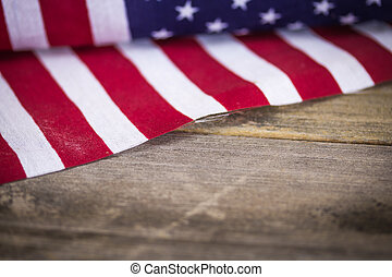 Vintage American Flag on Wooden Background