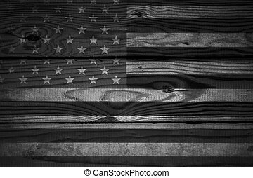 Vintage American Flag Painted On An Aged Weathered Rustic Wooden Background