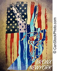 Vintage american flag typography; t-shirt graphics; vectors