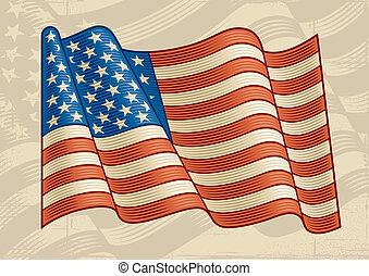 Vintage American Flag - Vintage American flag in woodcut...