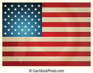 Vintage American Flag. Vector illustration.