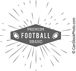 Vintage american football and rugby label, emblem and logo design with sunburst element. Hand drawn monochrome style with text. Usa sports identity symbol. Vector illustration