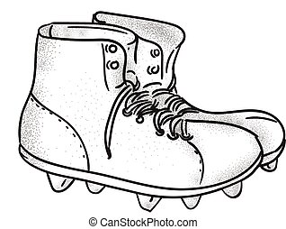Vintage American Football Boots Drawing