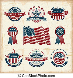 Vintage American labels set - A set of fully editable...