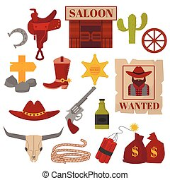 Vintage American old western designs sign and graphics cowboy icons.