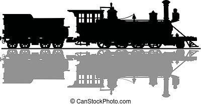 Vintage american steam locomotive - Hand drawing of a black...