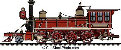 Hand drawing of a vintage red american wild west steam locomotive