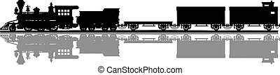 Vintage american steam train - Hand drawing of a black...