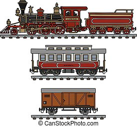 Vintage american steam train - Hand drawing of a classic...