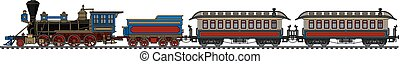 Vintage american steam train - Hand drawing of a vintage ...