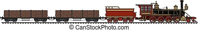 Vintage american steam train