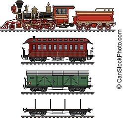 Vintage american steam train - Hand drawing of a vintage...