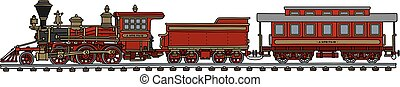 Vintage american train - Hand drawing of a classic red...