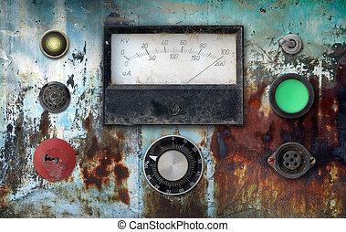 vintage ampere meter control panel - old weathered vintage...