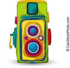 Vintage analog camera, graphic art