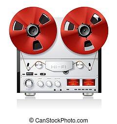 Vintage Hi-Fi analog stereo reel to reel tape deck player recorder