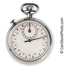vintage analog stop watch isolated on white with clipping path