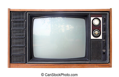 Vintage analog television isolated over white background, clipping path.