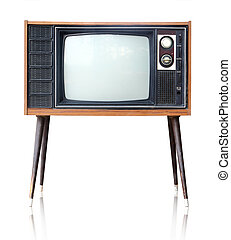 Vintage analog television isolated, clipping path. - Vintage...