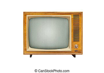Vintage TV set isolated on white background, alanog television technology
