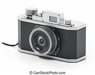 Vintage analogue SLR camera isolated on white background. 3D illustration