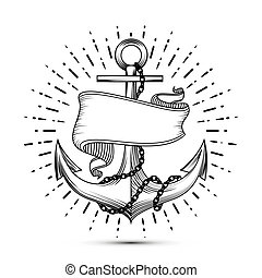 Vintage anchor with ribbon sketch sailor tattoo vector illustration