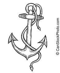 Vintage anchor with rope