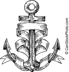 Vintage marine anchor wrapped by wide forked ribbon. For nautical and marine heraldry design. Sketch image