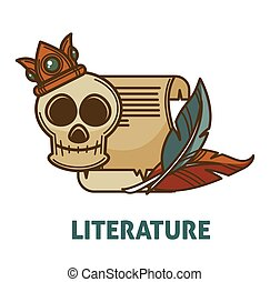 Vintage ancient literature and poetry book with skull vector...