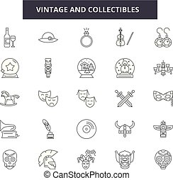 Vintage and collectibles line icons, signs set, vector. Vintage and collectibles outline concept, illustration: retro,vintage,collectible,isolated,antique,picture,aged