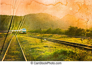 Vintage and grunge image of a railway.