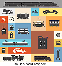 Vintage and modern vehicle silhouettes collection on color squares