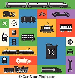 Vintage and modern vehicle silhouettes collection on color squar