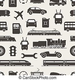 Vintage and modern vehicle silhouettes seamless background