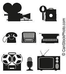 vintage and old art equipment set icons black silhouette video photo phone recording tv radio writing vector illustration isolated on white background