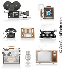 vintage and old art equipment set icons video photo phone recording tv radio writing vector illustration isolated on white background