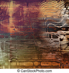 Vintage and retro design elements on faded grunge background. With different color patterns: yellow (beige); brown; gray; red (orange); purple (violet); black