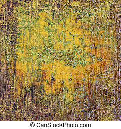 Vintage and retro design elements on faded grunge background. With different color patterns: yellow (beige); brown; green; red (orange); gray