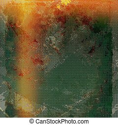 Vintage and retro design elements on faded grunge background. With different color patterns: yellow (beige); brown; gray; red (orange); green