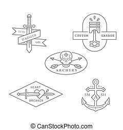Vintage and retro style logos design