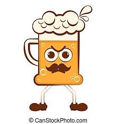 Vintage angry beer cartoon character