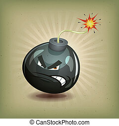 Vintage Angry Bomb Character - Illustration of a cartoon...