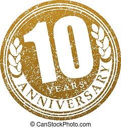 Vintage anniversary 10 years round