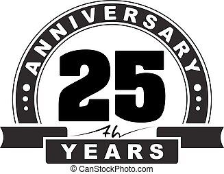 Vintage anniversary 25 years round emblem. Retro styled...
