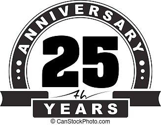 Vintage anniversary 25 years round emblem. Retro styled vector background.