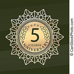 Vintage anniversary 5 years round emblem. Retro styled vector decor in gold tones on dark green background.