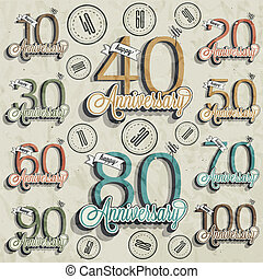 Retro Vintage style anniversary greeting card collection with calligraphic design. Template of anniversary, jubilee or birthday card. Hand lettering calligraphic and typographic design.
